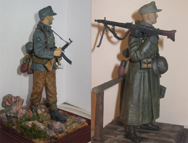 Фигурки: Немецкие пулеметчик и горный егерь.