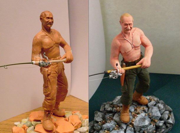 Скульптура: Владимир Путин на рыбалке
