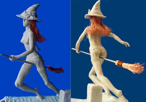 Скульптура: Ведьмочка на метле