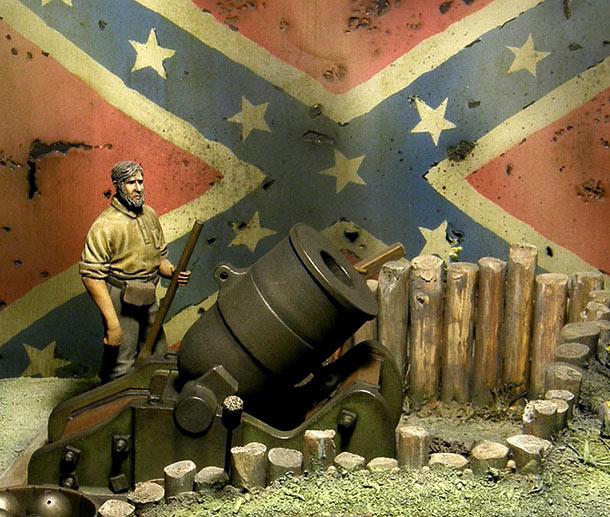 Диорамы и виньетки: 10-дюймовая береговая мортира. Гражданская война в США, 1861-65г.