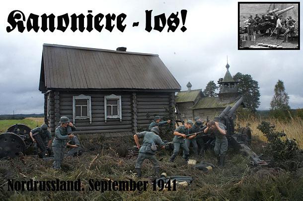Диорамы и виньетки: Артиллеристы. Русский север, 1941 г.