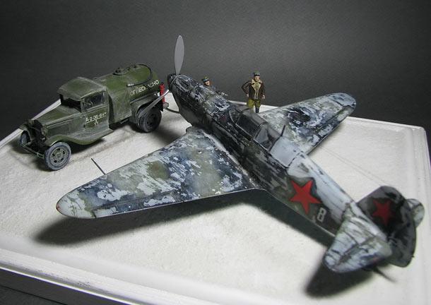 Диорамы и виньетки: Як-7А с топливозаправщиком БЗ-38