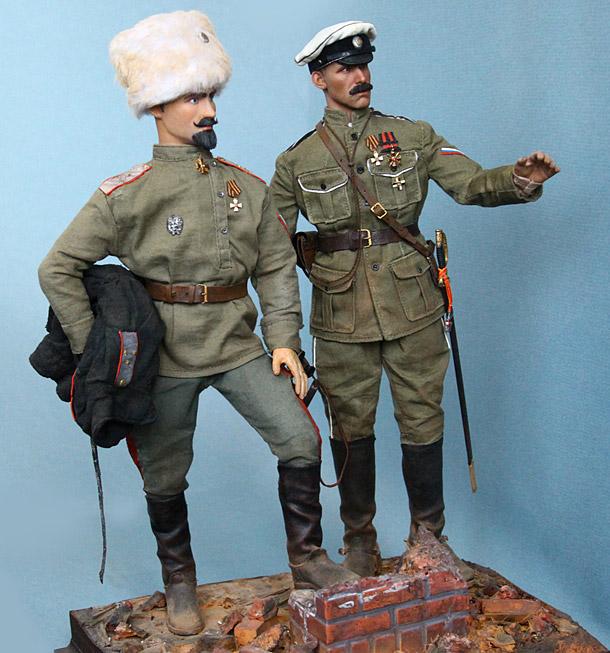 Фигурки: Генерал-лейтенант С.Л.Марков и капитан 1го офицерского полка. Ледовый поход, 1918
