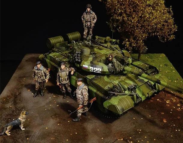 Диорамы и виньетки: Т-55АМ морской пехоты