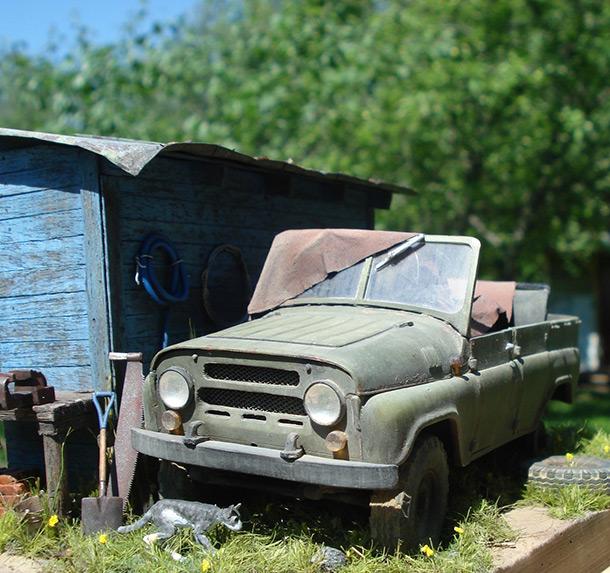 Диорамы и виньетки: УАЗ-469 на задворках