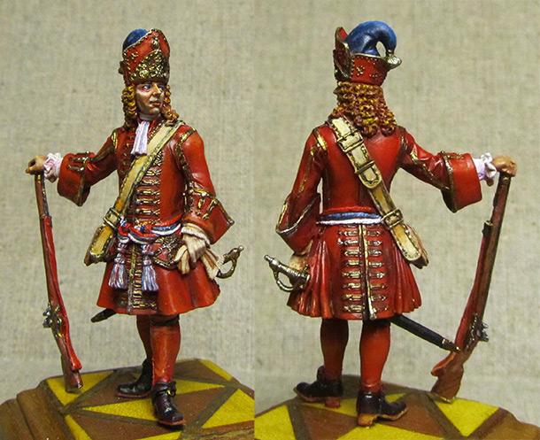 Фигурки: Обер-офицер гренадерских полков армейской пехоты, 1710-е гг.