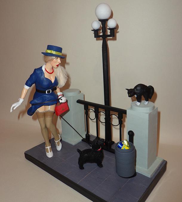 Скульптура: Девушка с собачкой из 60-х