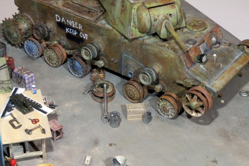 Диорамы и виньетки: КВ-1 на реставрации, фото #4