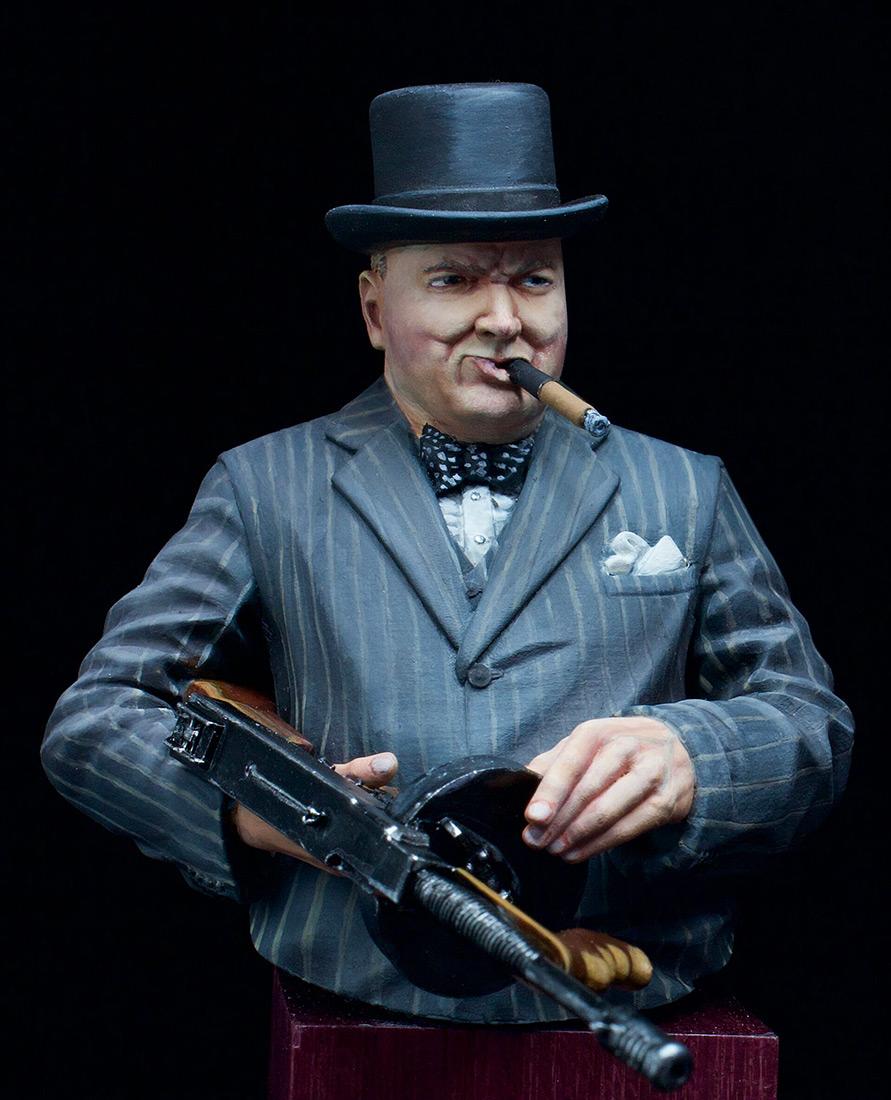 Фигурки: Уинстон Черчилль с автоматом Томпсона, 1940 г., фото #1