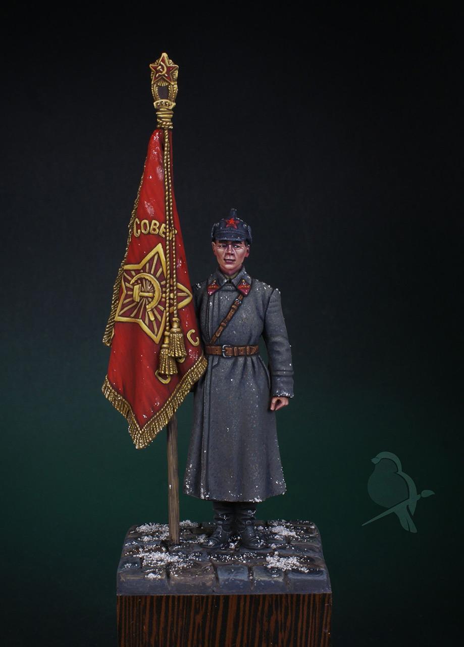 Фигурки: Ст. сержант РККА со знаменем, 1941 г., фото #1