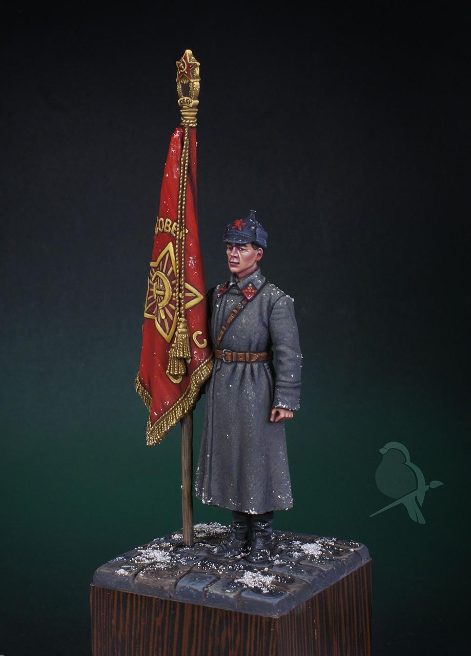 Фигурки: Ст. сержант РККА со знаменем, 1941 г., фото #2