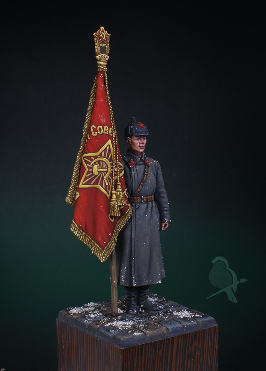 Фигурки: Ст. сержант РККА со знаменем, 1941 г., фото #4