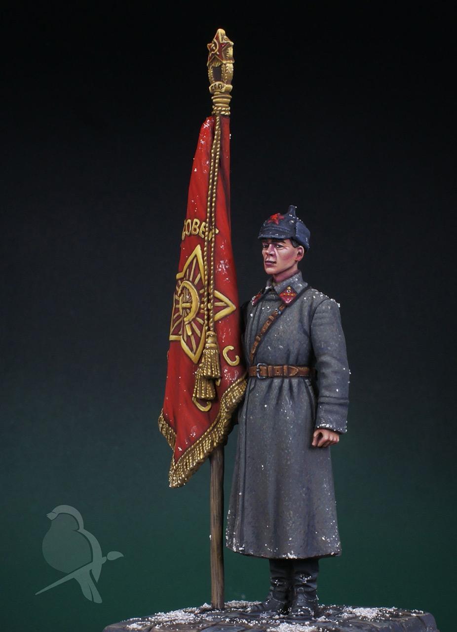 Фигурки: Ст. сержант РККА со знаменем, 1941 г., фото #5