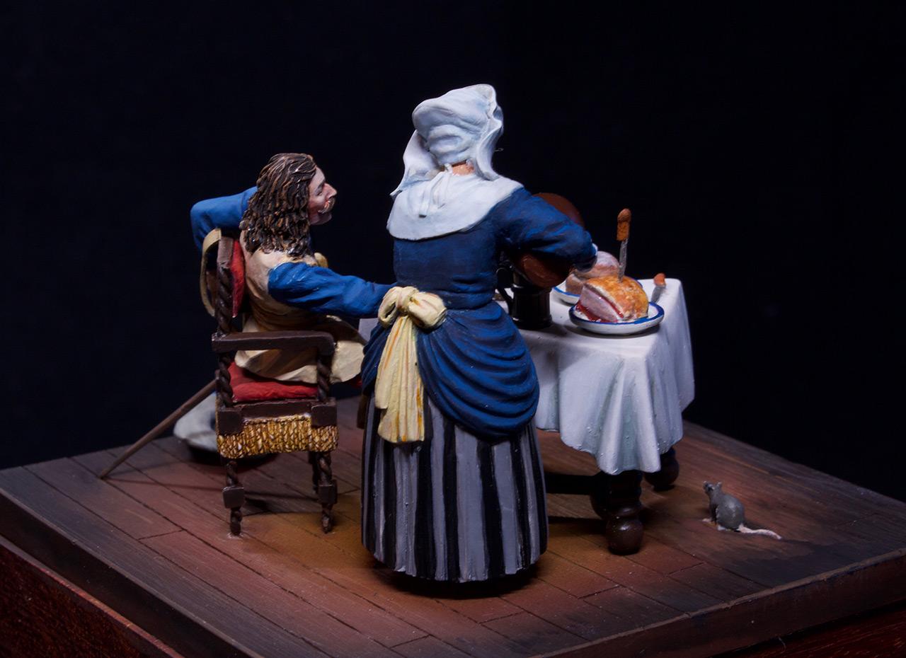 Диорамы и виньетки: Горничная и кавалер за столом, фото #11