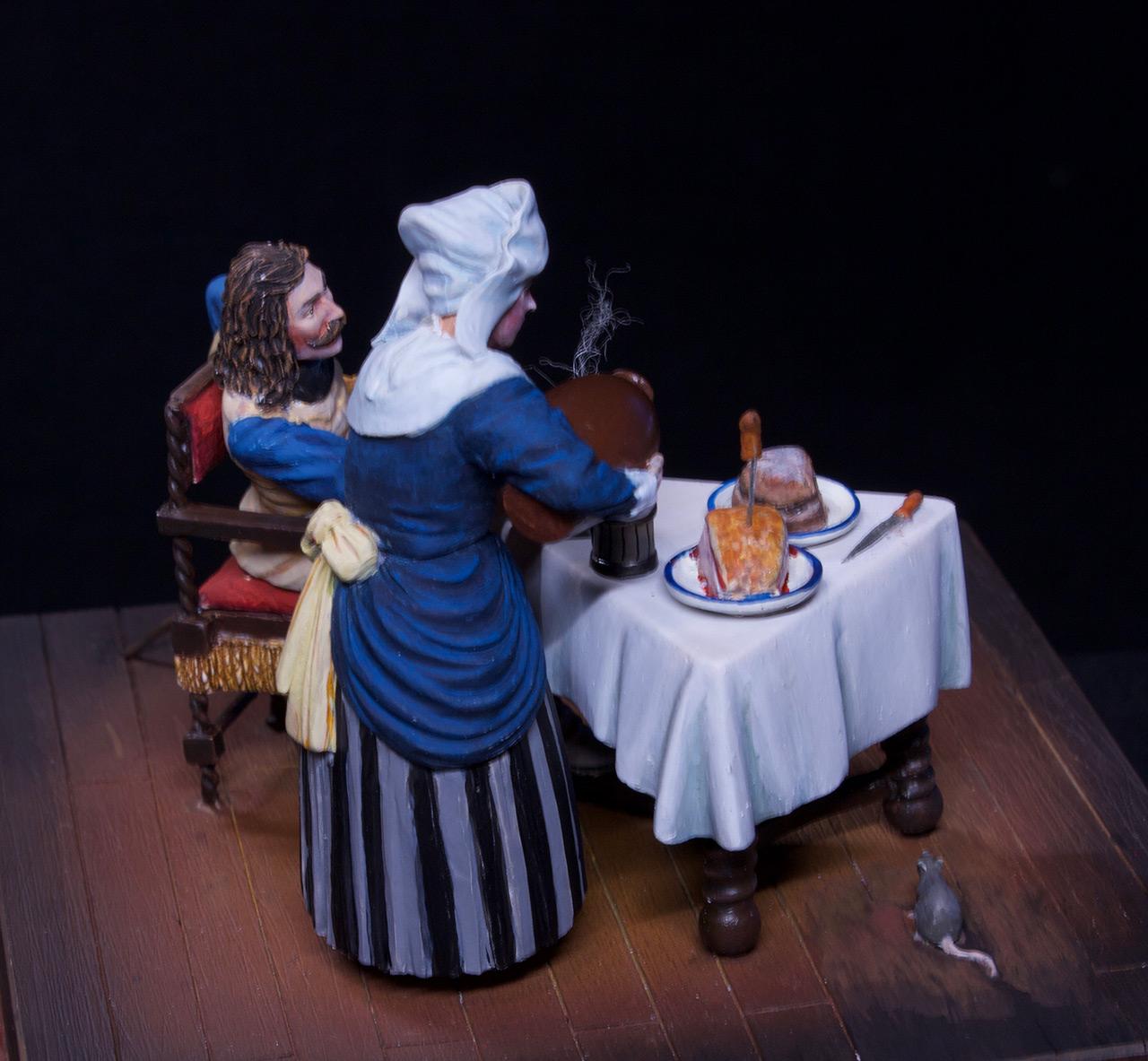 Диорамы и виньетки: Горничная и кавалер за столом, фото #12