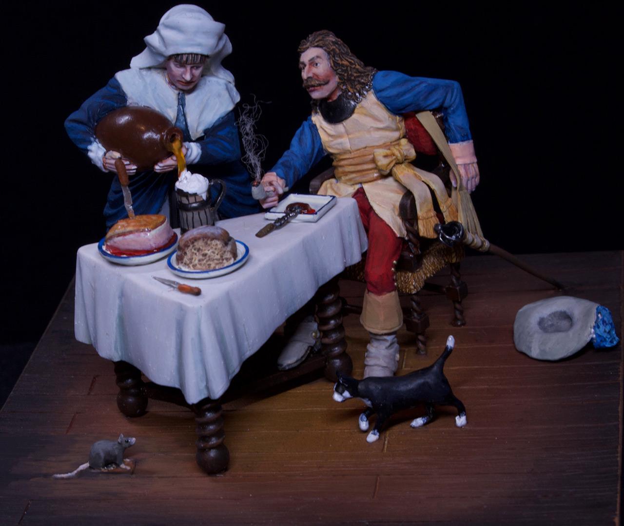 Диорамы и виньетки: Горничная и кавалер за столом, фото #6