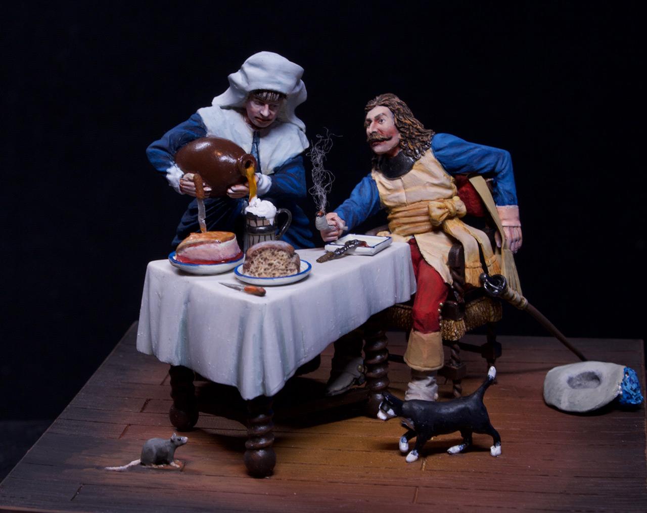 Диорамы и виньетки: Горничная и кавалер за столом, фото #8