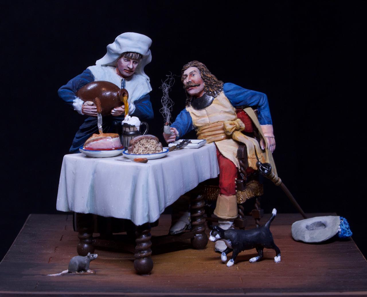 Диорамы и виньетки: Горничная и кавалер за столом, фото #9