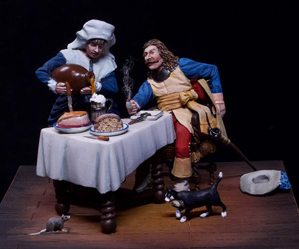 Диорамы и виньетки: Горничная и кавалер за столом