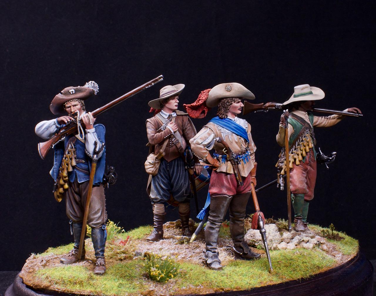 Фигурки: Мушкетеры, барабанщик и офицер, 1630 г. , фото #1